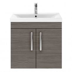 Athena Brown Grey Avola 600mm Wall Hung 2 Door Cabinet & Basin 3