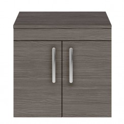 Athena Brown Grey Avola 600mm Wall Hung 2 Door Cabinet & Worktop