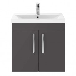 Athena Gloss Grey 600mm Wall Hung 2 Door Cabinet & Basin 2