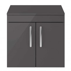 Athena Gloss Grey 600mm Wall Hung 2 Door Cabinet & Worktop