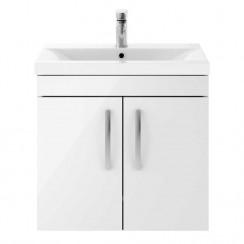 Athena Gloss White 600mm Wall Hung 2 Door Cabinet & Basin 2