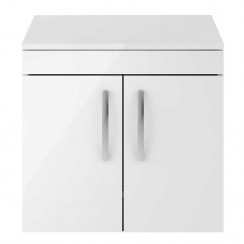Athena Gloss White 600mm Wall Hung 2 Door Cabinet & Worktop