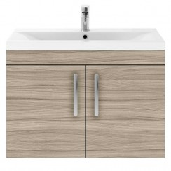 Athena Driftwood 800mm Wall Hung 2 Door Cabinet & Basin 2