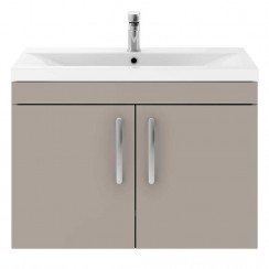 Athena Stone Grey 800mm Wall Hung 2 Door Cabinet & Basin 2