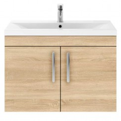 Athena Natural Oak 800mm Wall Hung 2 Door Cabinet & Basin 1