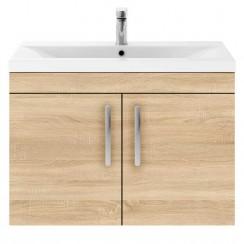 Athena Natural Oak 800mm Wall Hung 2 Door Cabinet & Basin 2
