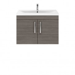 Athena Brown Grey Avola 800mm Wall Hung 2 Door Cabinet & Basin 3