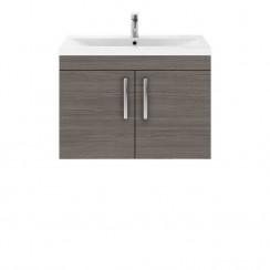 Athena Brown Grey Avola 800mm Wall Hung 2 Door Cabinet & Basin 2