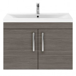 Athena Brown Grey Avola 800mm Wall Hung 2 Door Cabinet & Basin 3