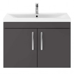 Athena Gloss Grey 800mm Wall Hung 2 Door Cabinet & Basin 2