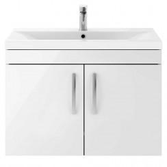 Athena Gloss White 800mm Wall Hung 2 Door Cabinet & Basin 1
