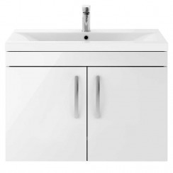 Athena Gloss White 800mm Wall Hung 2 Door Cabinet & Basin 2
