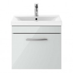 Athena Gloss Grey Mist 500mm Wall Hung 1 Drawer Cabinet & Basin 1