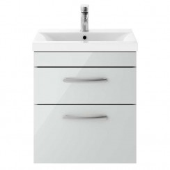 Athena Gloss Grey Mist 500mm Wall Hung 2 Drawer Cabinet & Basin 3