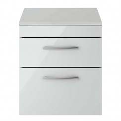 Athena Gloss Grey Mist 500mm Wall Hung 2 Drawer Cabinet & Worktop