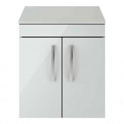 Athena Gloss Grey Mist 500mm Wall Hung 2 Door Cabinet & Worktop