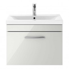 Athena Gloss Grey Mist 600mm Wall Hung 1 Drawer Cabinet & Basin 1