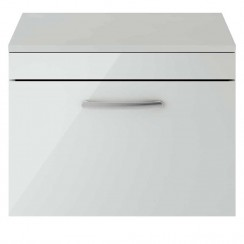 Athena Gloss Grey Mist 600mm Wall Hung 1 Drawer Cabinet & Worktop