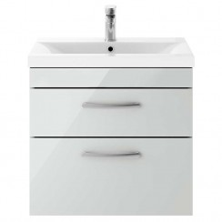 Athena Gloss Grey Mist 600mm Wall Hung 2 Drawer Cabinet & Basin 3