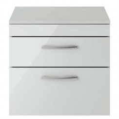 Athena Gloss Grey Mist 600mm Wall Hung 2 Drawer Cabinet & Worktop