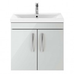 Athena Gloss Grey Mist 600mm Wall Hung 2 Door Cabinet & Basin 2