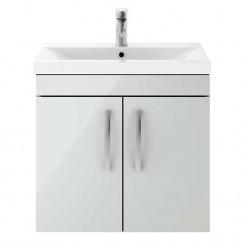 Athena Gloss Grey Mist 600mm Wall Hung 2 Door Cabinet & Basin 3
