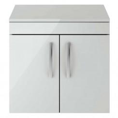 Athena Gloss Grey Mist 600mm Wall Hung 2 Door Cabinet & Worktop