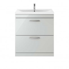Athena Gloss Grey Mist 800mm Floor Standing 2 Drawer Unit Only