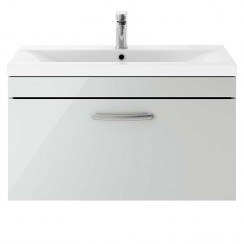Athena Gloss Grey Mist 800mm Wall Hung 1 Drawer Cabinet & Basin 2