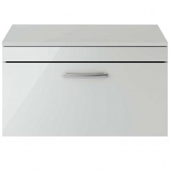 Athena Gloss Grey Mist 800mm Wall Hung 1 Drawer Cabinet & Worktop