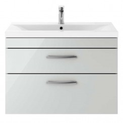 Athena Gloss Grey Mist 800mm Wall Hung 2 Drawer Cabinet & Basin 1