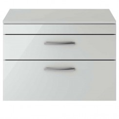 Athena Gloss Grey Mist 800mm Wall Hung 2 Drawer Cabinet & Worktop