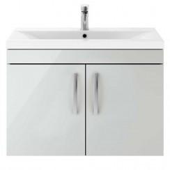 Athena Gloss Grey Mist 800mm Wall Hung 2 Door Cabinet & Basin 2
