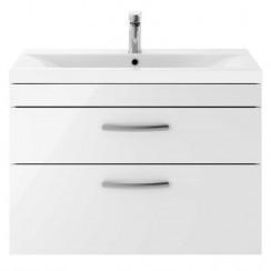 Athena Gloss White 800mm Wall Hung 2 Drawer Cabinet & Basin 2