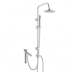 Axair Bath Shower Mixer Tap with 3 Way Round Rigid Riser Rail Kit