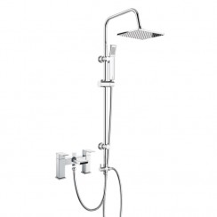 Babington Bath Shower Mixer Tap with 3 Way Square Rigid Riser Rail Kit