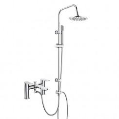 Bailey Bath Shower Mixer Tap with 3 Way Round Rigid Riser Rail Kit