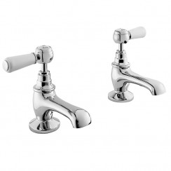 Topaz White Lever Basin Taps - Hex Collar