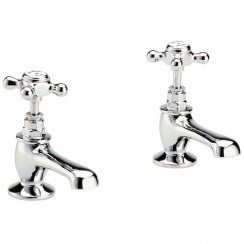 Topaz White Crosshead Basin Taps - Hex Collar