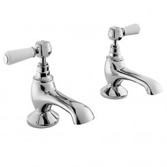 Topaz White Lever Bath Taps - Hex Collar