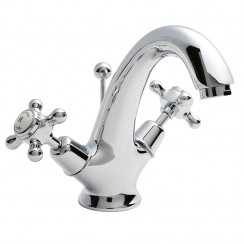 Topaz White Crosshead Mono Basin Mixer Tap - Dome Collar