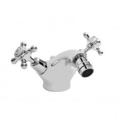 Topaz White Crosshead Mono Bidet Mixer Tap - Dome Collar