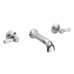 Topaz White Lever Wall Mounted Bath Tap - Hex Collar