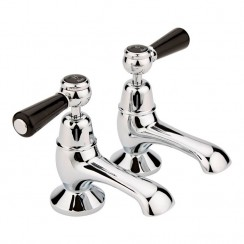 Topaz Black Lever Bath Taps - Dome Collar