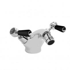 Topaz Black Lever Mono Bidet Mixer Tap - Dome Collar