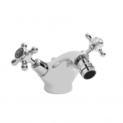 Topaz Black Crosshead Mono Bidet Mixer Tap - Dome Collar