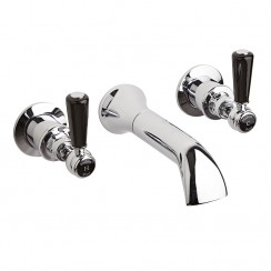 Topaz Black Lever Wall Mounted Bath Tap - Hex Collar
