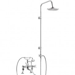 Beaumont Luxury 3/4 Cranked Bath Shower Mixer Tap with 3 Way Round Rigid Riser Rail Kit