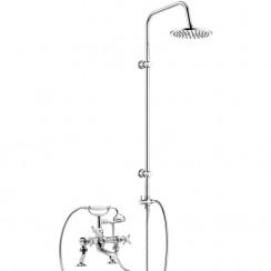 Beaumont Luxury 3/4 Cranked Bath Shower Mixer Tap with 3 Way Round Rigid Riser Rail Kit