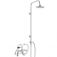 Beaumont 1/2 Bath Shower Mixer Tap with 3 Way Round Rigid Riser Rail Kit